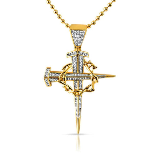 18K Yellow Gold Thorny Stake Cross Detailed Pendant ,  , Green Box Jewellers - Custom Diamond Pendant - Diamond Jewelry - Custom Diamond Jewelry - Diamond Iced Out Hip Hop Jewelry