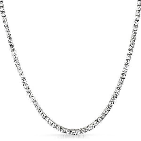 .925 Sterling Silver 3MM Diamond Tennis Chain White Gold  -   - GreenBox Jewellers - Hip Hop Jewelry - iced out pendant - gold cuban link - shop gld - gld - gold jewelry