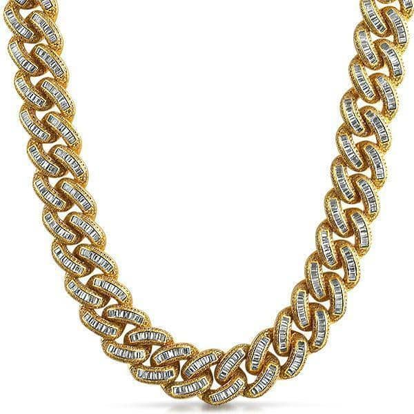 .925 Silver Gold Baguette Diamond Cuban Link Chain Yellow Gold - Green Box Jewellers