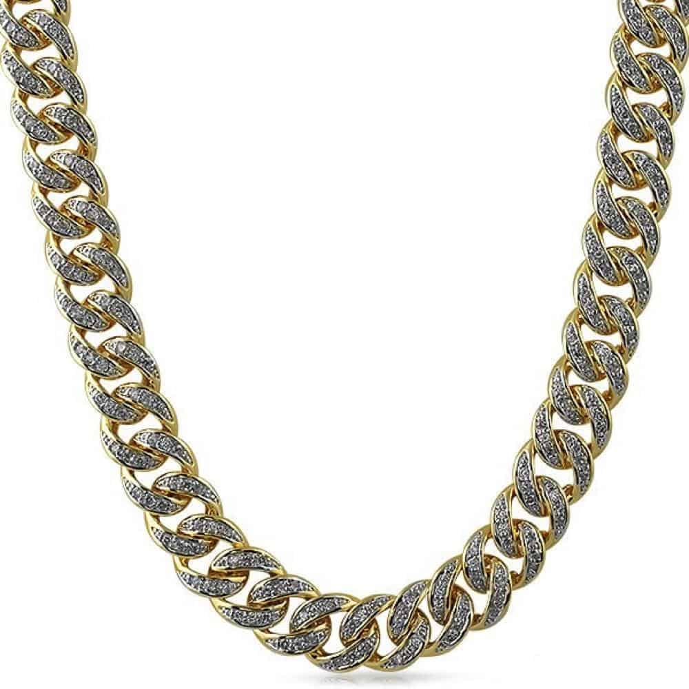 .925 Sterling Silver 13MM Diamond Cuban Chain Yellow Gold  -   - GreenBox Jewellers - Hip Hop Jewelry - iced out pendant - gold cuban link - shop gld - gld - gold jewelry