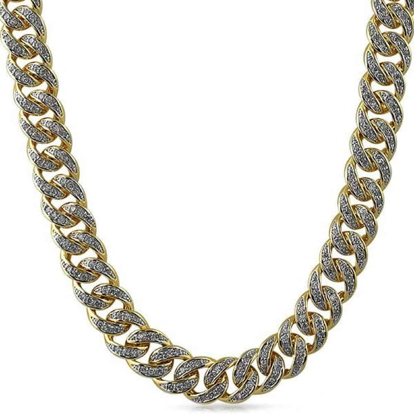 .925 Sterling Silver 13MM Diamond Cuban Chain Yellow Gold - Green Box Jewellers