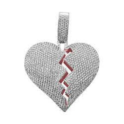 .925 Silver Iced Heart Breaker Bling Bling Pendant White Gold ,  , Green Box Jewellers - Custom Diamond Pendant - Diamond Jewelry - Custom Diamond Jewelry - Diamond Iced Out Hip Hop Jewelry