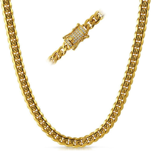 Iced Clasp Yellow Gold Miami Cuban Link Chain 8MM ,  , Green Box Jewellers - Custom Diamond Pendant - Diamond Jewelry - Custom Diamond Jewelry - Diamond Iced Out Hip Hop Jewelry