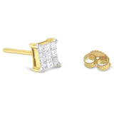 10K Yellow Gold 0.5 CTTW Princess Diamond Composite Earring Stud (I-J, I3) - Green Box Jewellers