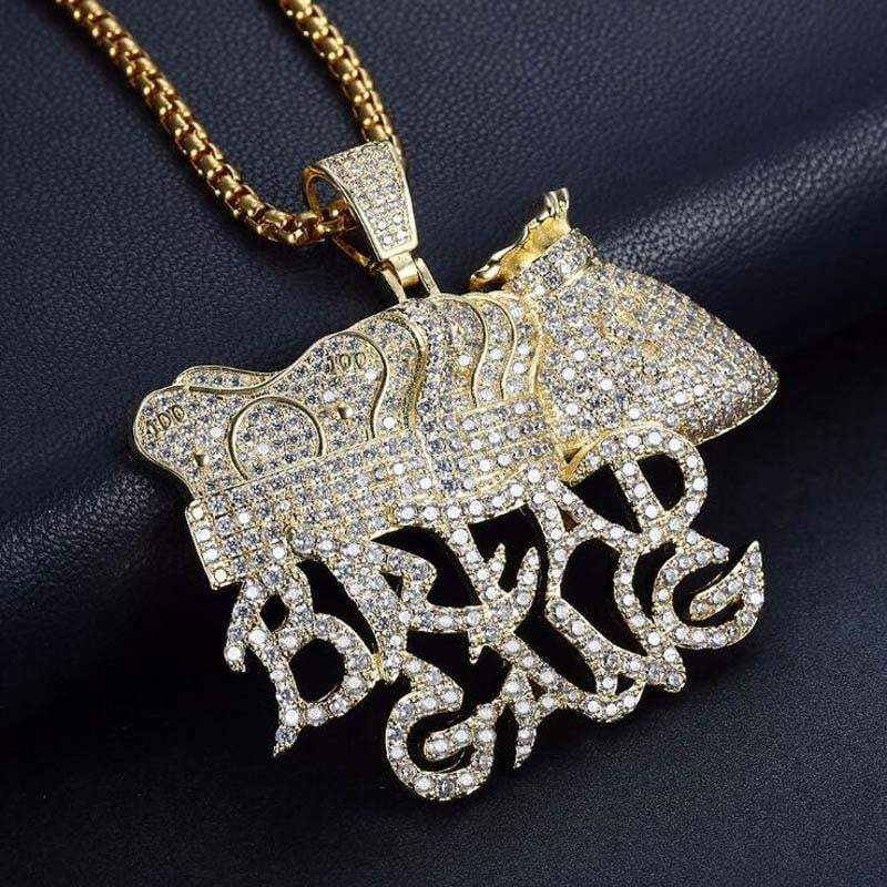 Fully Iced Out Bread Gang Moneybag Pendant  -   - GreenBox Jewellers - Hip Hop Jewelry - iced out pendant - gold cuban link - shop gld - gld - gold jewelry