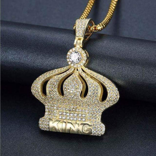 Iced Out King Crown Pendant ,  , Green Box Jewellers - Custom Diamond Pendant - Diamond Jewelry - Custom Diamond Jewelry - Diamond Iced Out Hip Hop Jewelry