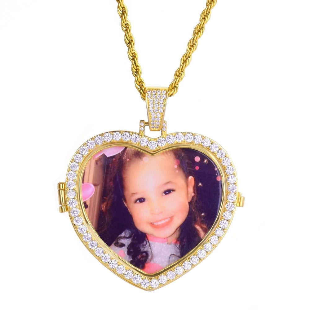 24K Custom Iced Out Diamond Photo Heart Medallions Necklace & Pendant  -   - GreenBox Jewellers - Hip Hop Jewelry - iced out pendant - gold cuban link - shop gld - gld - gold jewelry