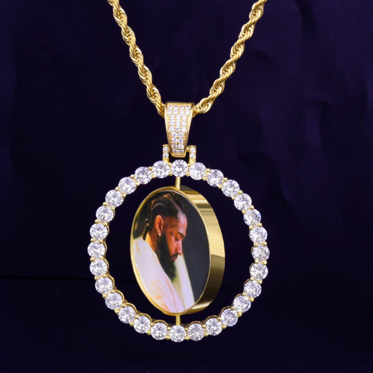 Fully Iced Out Custom Photo Rotating Double Sided Pendant - Green Box Jewellers
