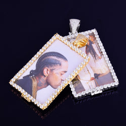 Custom Rectangle Photo Pendant with Diamond Frame ,  , Green Box Jewellers - Custom Diamond Pendant - Diamond Jewelry - Custom Diamond Jewelry - Diamond Iced Out Hip Hop Jewelry