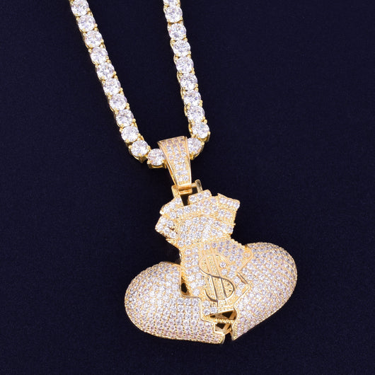 Fully Iced Out Broken Heart Money Bag Pendant - Green Box Jewellers