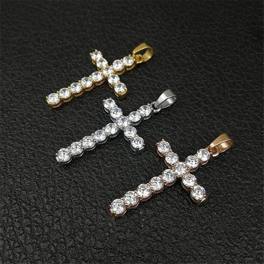 18K Prong Set Diamond Cross  -   - GreenBox Jewellers - Hip Hop Jewelry - iced out pendant - gold cuban link - shop gld - gld - gold jewelry
