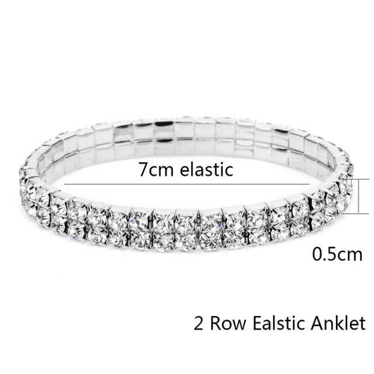 Fully Iced Out Diamond Elastic Ankle Bracelet - Green Box Jewellers