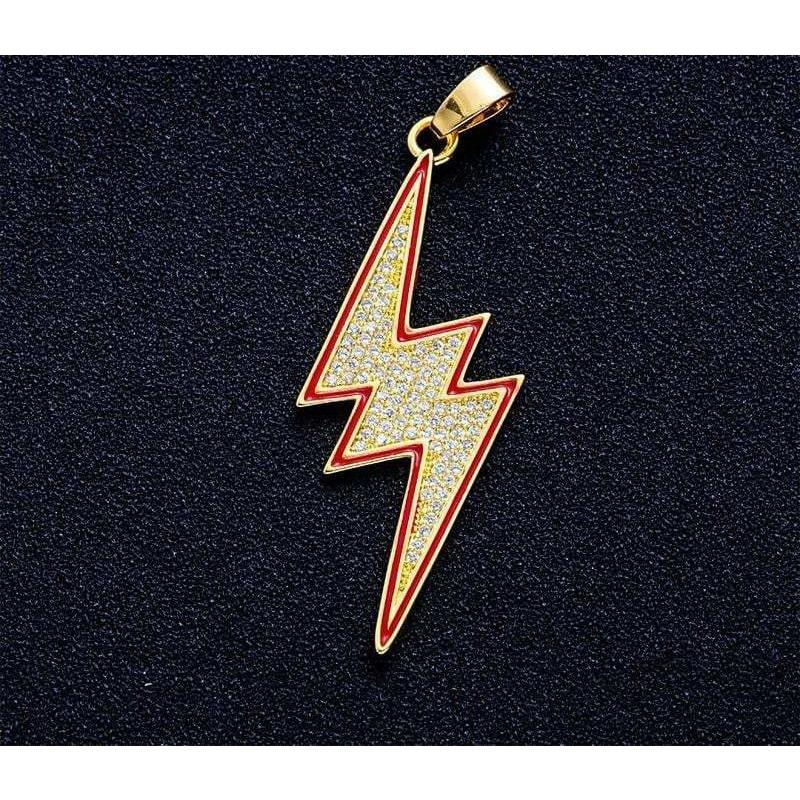 Iced Out Lightning Pendant  -   - GreenBox Jewellers - Hip Hop Jewelry - iced out pendant - gold cuban link - shop gld - gld - gold jewelry
