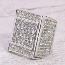 24K White Gold Mens Square Invisible Set Diamond Ring - Green Box Jewellers