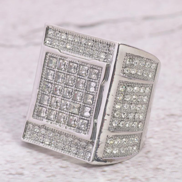 24K White Gold Mens Square Invisible Set Diamond Ring ,  , Green Box Jewellers - Custom Diamond Pendant - Diamond Jewelry - Custom Diamond Jewelry - Diamond Iced Out Hip Hop Jewelry