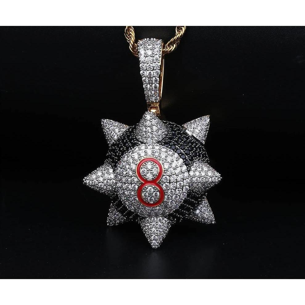 Fully Iced out Trippieredd Inspired Spike 8-ball Billiard Pendant  -   - GreenBox Jewellers - Hip Hop Jewelry - iced out pendant - gold cuban link - shop gld - gld - gold jewelry
