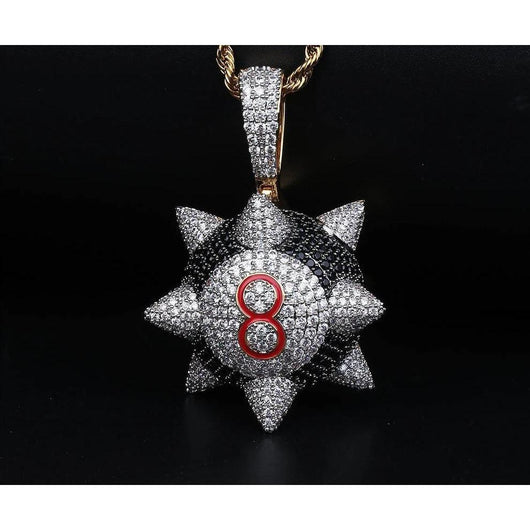 Fully Iced out Trippieredd Inspired Spike 8-ball Billiard Pendant ,  , Green Box Jewellers - Custom Diamond Pendant - Diamond Jewelry - Custom Diamond Jewelry - Diamond Iced Out Hip Hop Jewelry