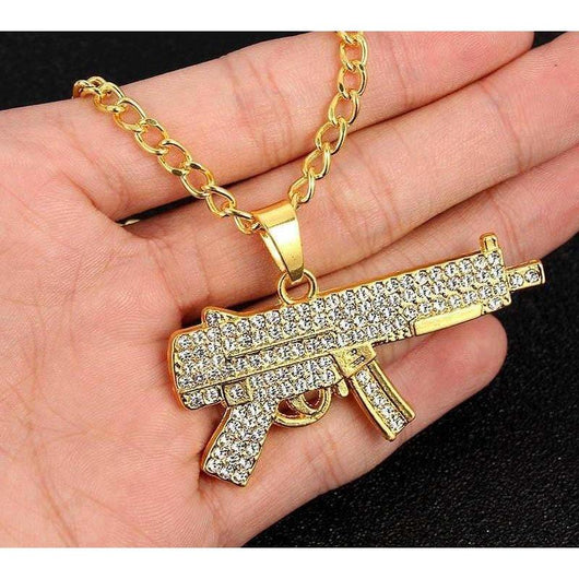 Iced Out Sub Machine Gun , Chain , Green Box Jewellers - Custom Diamond Pendant - Diamond Jewelry - Custom Diamond Jewelry - Diamond Iced Out Hip Hop Jewelry