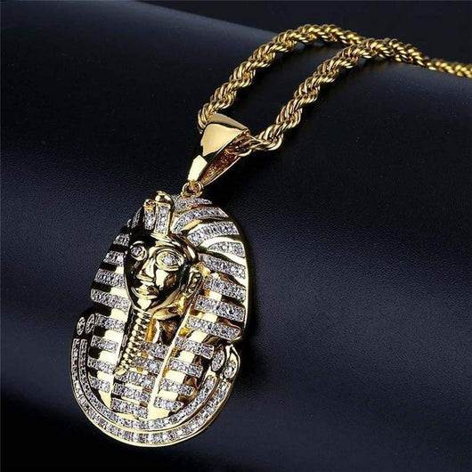 2 Toned Iced Out Egyptian Pharaoh Pendant ,  , Green Box Jewellers - Custom Diamond Pendant - Diamond Jewelry - Custom Diamond Jewelry - Diamond Iced Out Hip Hop Jewelry