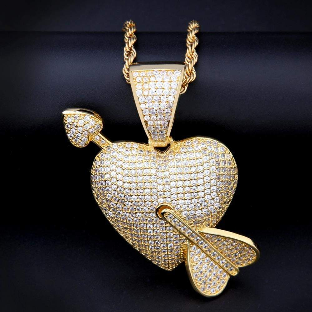 Fully Iced Out Heart With Arrow  -   - GreenBox Jewellers - Hip Hop Jewelry - iced out pendant - gold cuban link - shop gld - gld - gold jewelry