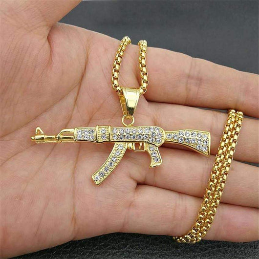 Fully Iced Out AK-47 ,  , Green Box Jewellers - Custom Diamond Pendant - Diamond Jewelry - Custom Diamond Jewelry - Diamond Iced Out Hip Hop Jewelry