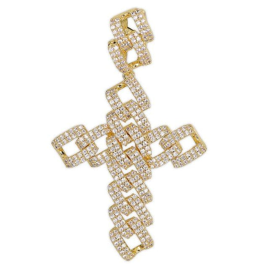 Fully Iced Out Sharp Cuban Styled Cross Pendant - Green Box Jewellers