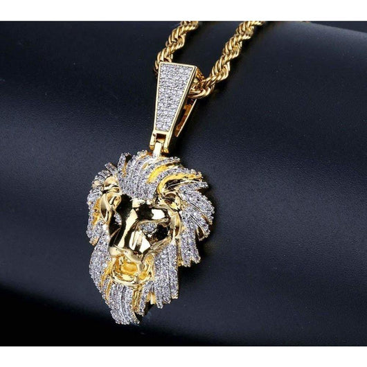 Iced Out Micro Pave Lion Head Pendant - Green Box Jewellers