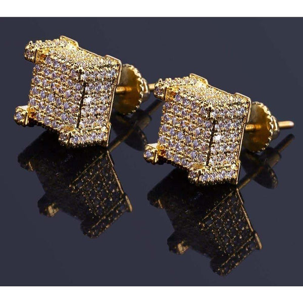 Iced Out Stud Earrings - Green Box Jewellers