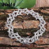 15MM Iced Barbed Wire Cuban Link Bracelet - Green Box Jewellers