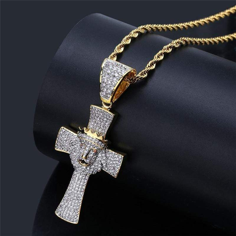 Iced Out Lion Cross  -   - GreenBox Jewellers - Hip Hop Jewelry - iced out pendant - gold cuban link - shop gld - gld - gold jewelry