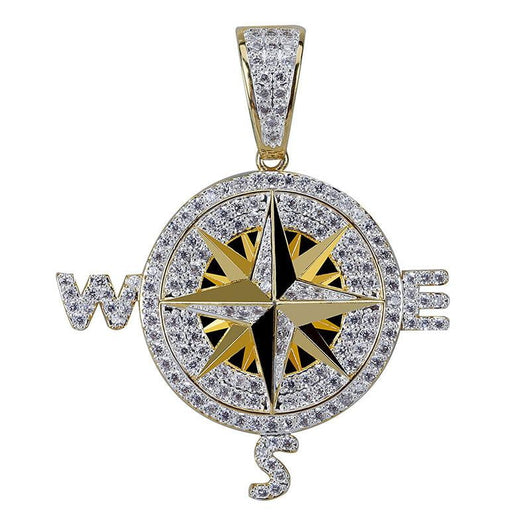 Micro Paved Compass , Compass Pendant , Green Box Jewellers - Custom Diamond Pendant - Diamond Jewelry - Custom Diamond Jewelry - Diamond Iced Out Hip Hop Jewelry