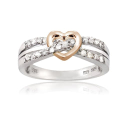 Sterling Silver Rose Gold Two-Tone 1/5ct Diamond Twist & Heart Promise Ring - Green Box Jewellers