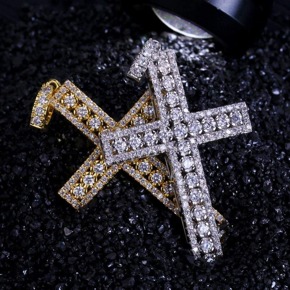 Fully Iced Out 3 Layer Cross  -   - GreenBox Jewellers - Hip Hop Jewelry - iced out pendant - gold cuban link - shop gld - gld - gold jewelry