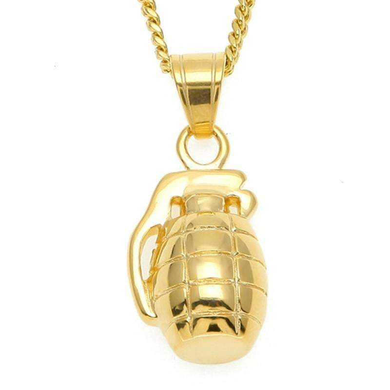24K Grenade Pendant  -   - GreenBox Jewellers - Hip Hop Jewelry - iced out pendant - gold cuban link - shop gld - gld - gold jewelry