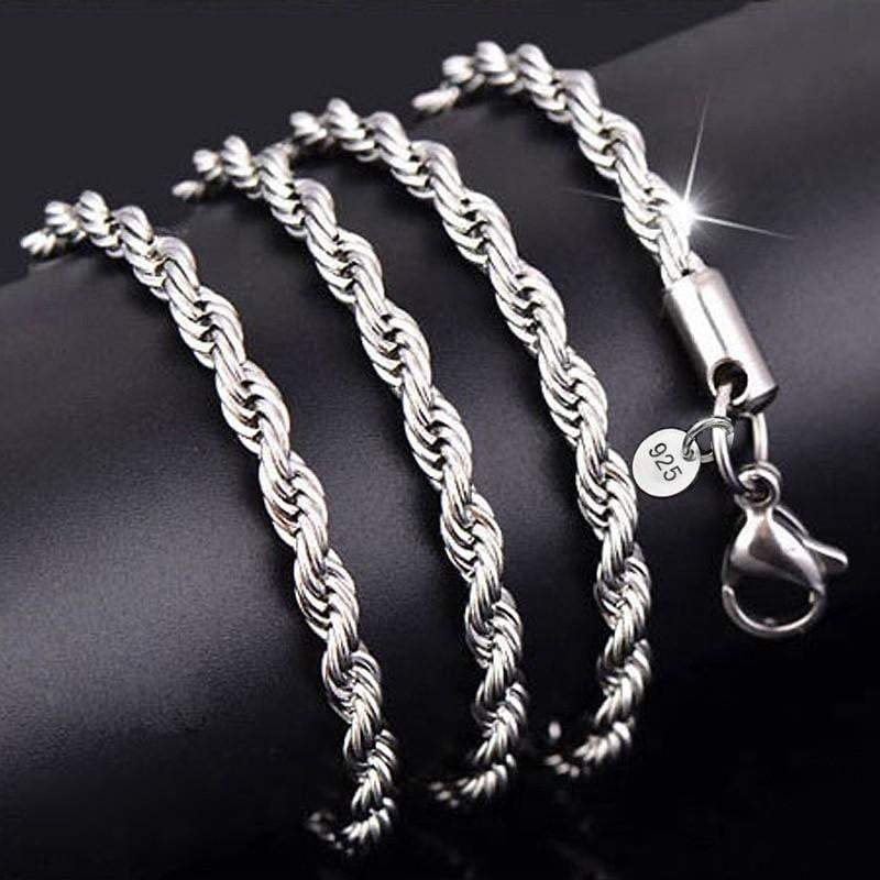 .925 Silver Twisted White Gold Rope Chain  -   - GreenBox Jewellers - Hip Hop Jewelry - iced out pendant - gold cuban link - shop gld - gld - gold jewelry