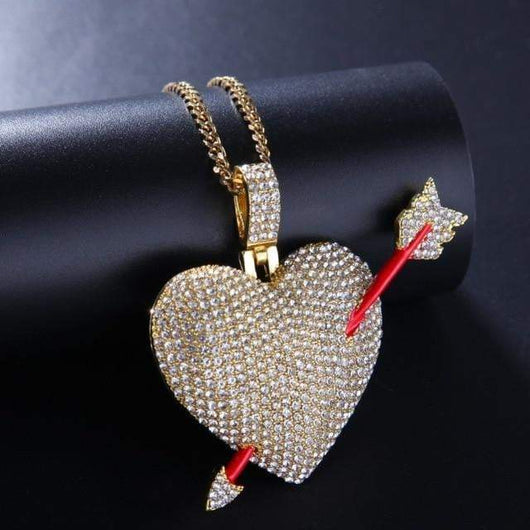 Colored Fully Iced Out Heart with Arrow Pendant ,  , Green Box Jewellers - Custom Diamond Pendant - Diamond Jewelry - Custom Diamond Jewelry - Diamond Iced Out Hip Hop Jewelry