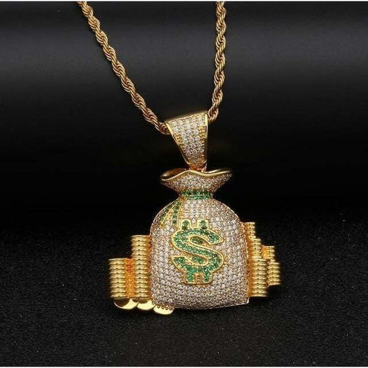 Iced Out Money Bags Pendant - Green Box Jewellers