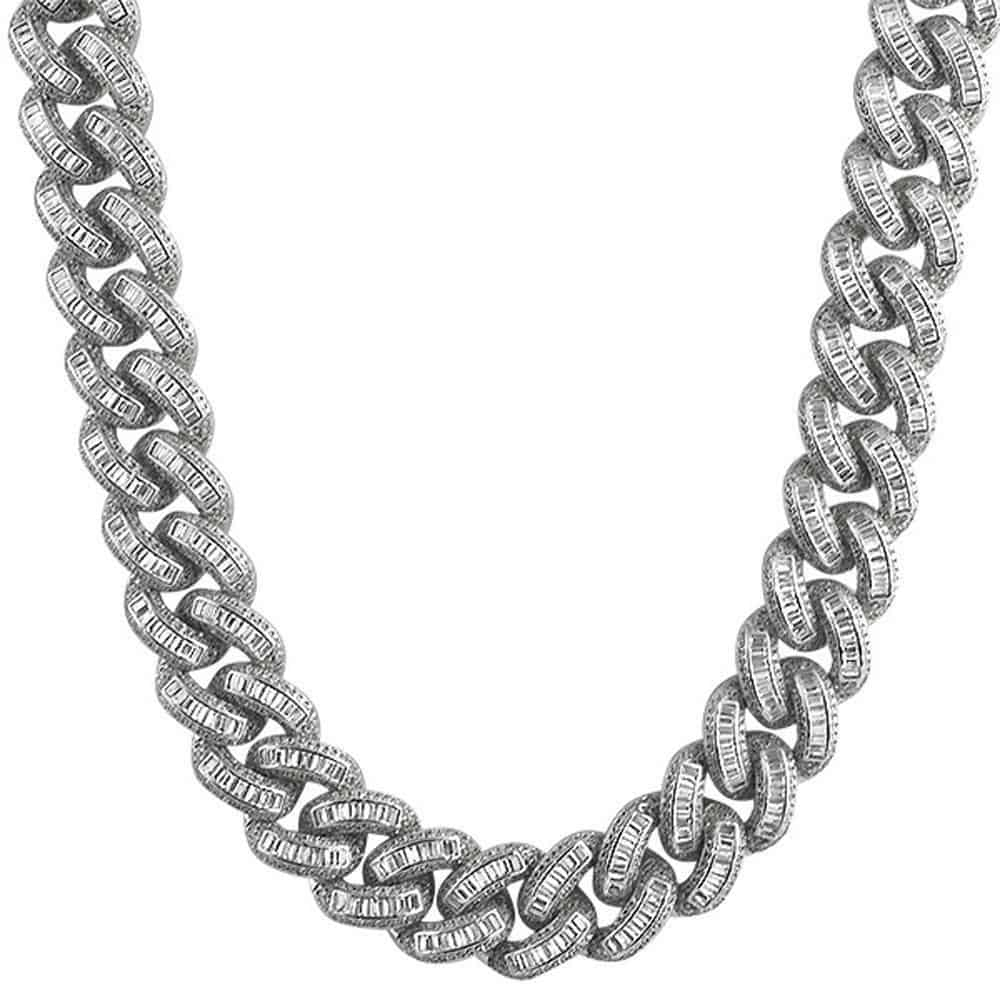.925 Sterling Silver Baguette Diamond 17MM Cuban Chain White Gold  -   - GreenBox Jewellers - Hip Hop Jewelry - iced out pendant - gold cuban link - shop gld - gld - gold jewelry