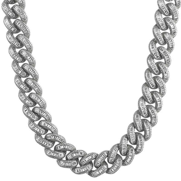 .925 Sterling Silver Baguette Diamond 17MM Cuban Chain White Gold - Green Box Jewellers