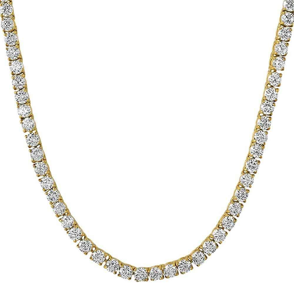 .925 Sterling Silver 4MM Diamond Tennis Chain Yellow Gold  -   - GreenBox Jewellers - Hip Hop Jewelry - iced out pendant - gold cuban link - shop gld - gld - gold jewelry