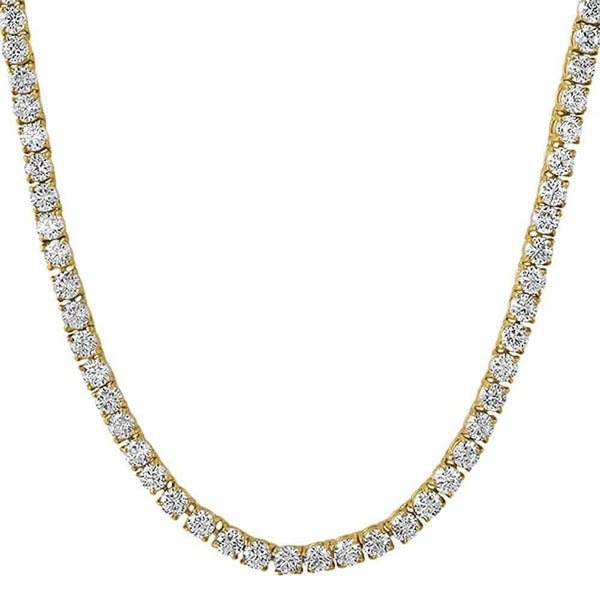 .925 Sterling Silver 4MM Diamond Tennis Chain Yellow Gold ,  , Green Box Jewellers - Custom Diamond Pendant - Diamond Jewelry - Custom Diamond Jewelry - Diamond Iced Out Hip Hop Jewelry