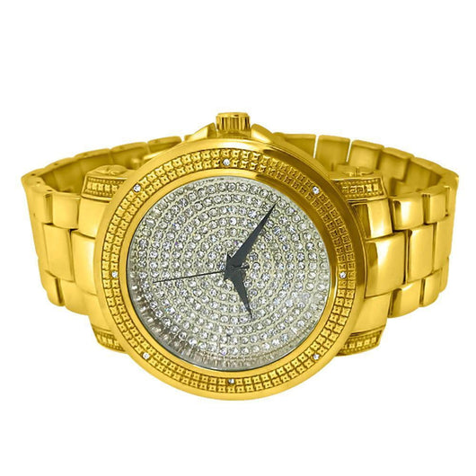 Yellow Gold Dial Heavy Micro Paved Iced Background Diamond Hip Hop Watch - Green Box Jewellers