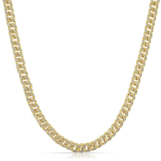 .925 Sterling Silver 6MM Iced Out Yellow Gold Miami Cuban Link Necklace - Green Box Jewellers