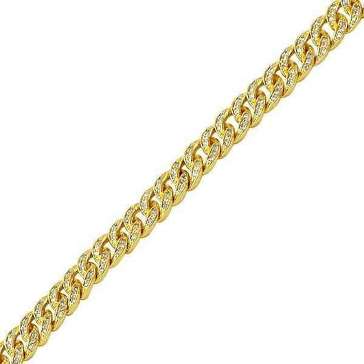 .925 Silver 6MM Diamond Bling Gold Cuban Link Bracelet ,  , Green Box Jewellers - Custom Diamond Pendant - Diamond Jewelry - Custom Diamond Jewelry - Diamond Iced Out Hip Hop Jewelry