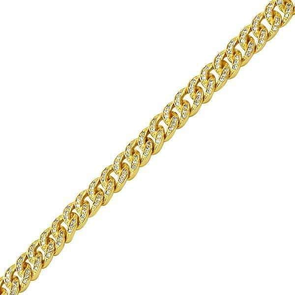 .925 Silver 6MM Diamond Bling Gold Cuban Link Bracelet - Green Box Jewellers