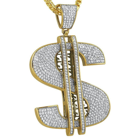 Gold Iced XL Money Sign Pendant ,  , Green Box Jewellers - Custom Diamond Pendant - Diamond Jewelry - Custom Diamond Jewelry - Diamond Iced Out Hip Hop Jewelry
