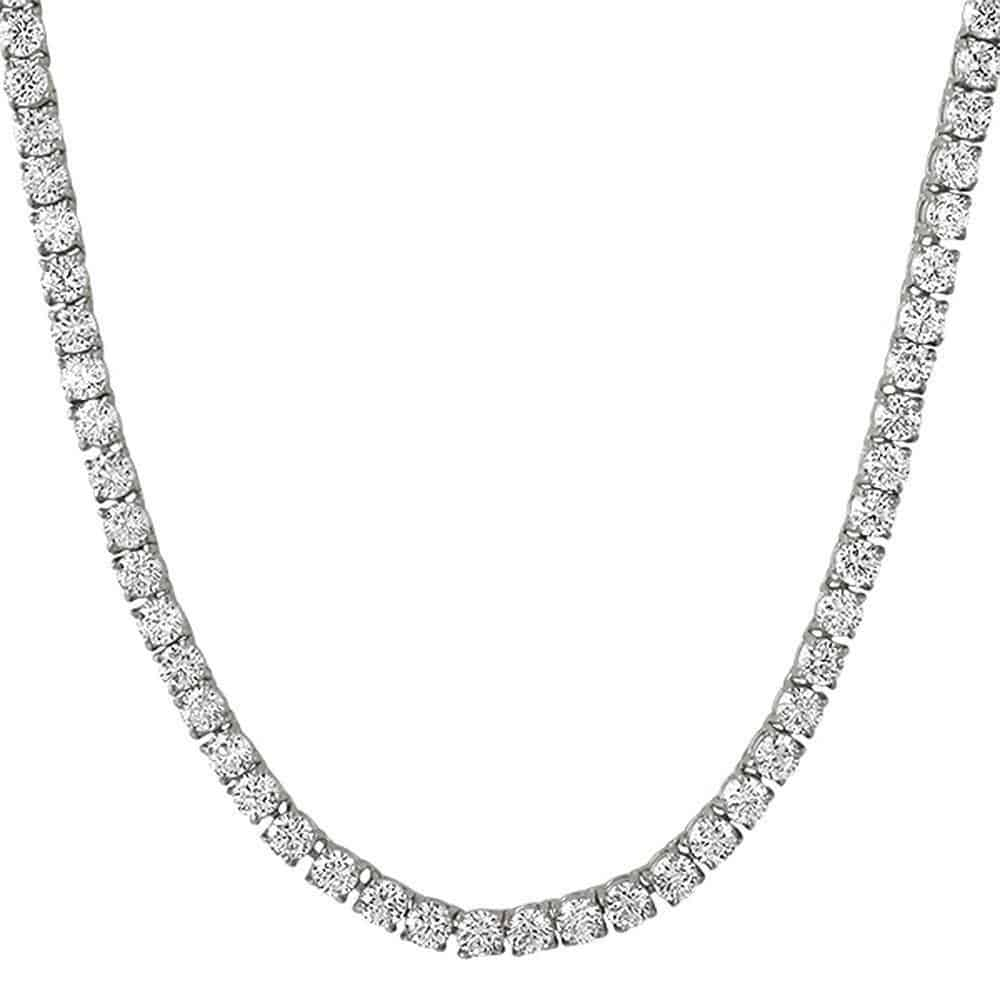 .925 Sterling Silver 4MM Diamond Tennis Chain White Gold  -   - GreenBox Jewellers - Hip Hop Jewelry - iced out pendant - gold cuban link - shop gld - gld - gold jewelry