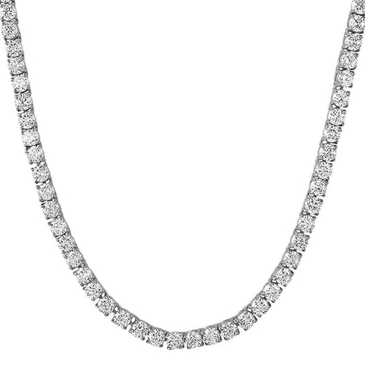 .925 Sterling Silver 4MM Diamond Tennis Chain White Gold - Green Box Jewellers