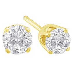 14k Yellow Gold 0.33ct. TDW Solitaire Diamond Stud Earrings (K-L,I2)  -   - GreenBox Jewellers - Hip Hop Jewelry - iced out pendant - gold cuban link - shop gld - gld - gold jewelry
