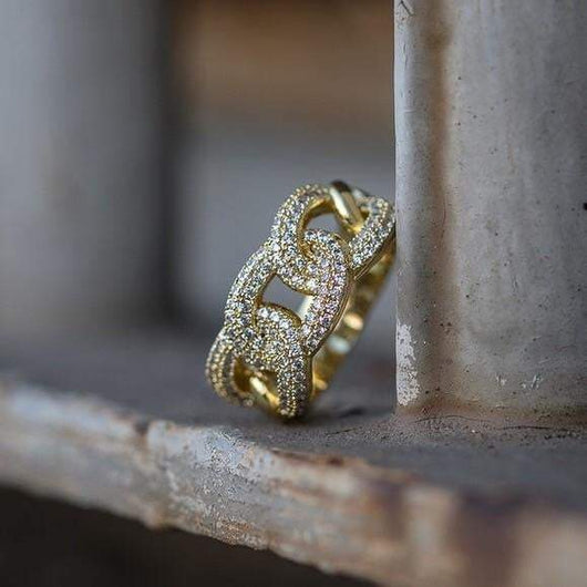 10K Solid Yellow Gold Cuban Link Ring - Green Box Jewellers